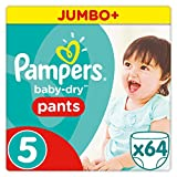 Pampers - Baby Dry Pants - Couches-Culottes Taille 5 (12-18 kg) - Jumbo+ Pack (x64 Culottes)