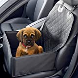 2 In 1 Dog Booster Car Seat Cover | Waterproof Pet Travelling Vehicle Puppy Carrier | Passenger Seat Cat & Dog Quilted Foldable Protector | M&W