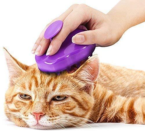 Luxuriöse Katzenbürste mit extra weichen Silikon-Borsten - Massagebürste für Kurzhaar & Langhaar Katzen