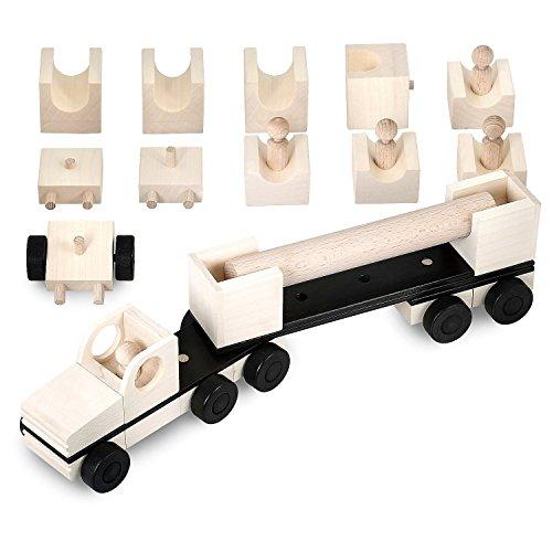 multi mobil Holzlaster XL Spielzeug Bausatz 100 Fahrzeug Variationen aus 31 Holzelementen Auto Transporter LKW Holz Laster Premium Holzspielzeug Jungs und Mädchen, Made in Germany (black / white)