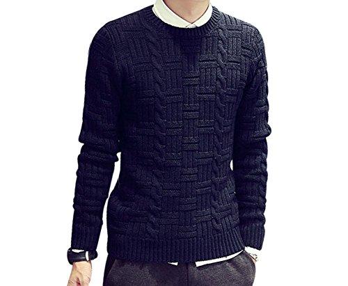 BOMOVO Herren Rundhals Strickpullover Pullover Thick Abschnitt Sweatshirt Blau