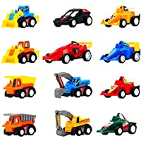 Symiu Pull Back Vehicle Set, 12Pcs Mini Construction Vehicles Racing Cars Pull and Go Toys for Kids 3 4 5 Years Old to Play Together