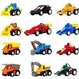 Voiture Enfant Maquette Petite Voiture Jouet Mini Vehicule Camion Miniature Voiture de Course Pull Back 12 Pcs Jouet Enfant Fille Garcon 3 4 5 Ans