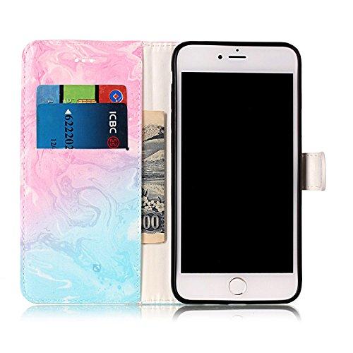 Cassa per Apple iPhone 7Plus 5.5(NON iPhone 7 4.7), CLTPY Colorato Painted Modello Back Cover, Wallet Case con Funzione del Kickstand e Slot Schede per iPhone 7Plus + 1x Stilo - Nude Rosa Marmo Blu Rosa
