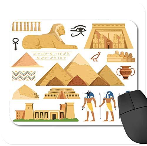 rutschfeste Gummi-Rechteck-Mausunterlagen,Monument-Pyramide von ?gypten-Geschichtsmarkstein-kulturellen Gegenst?nden und Symbolen ?gypter-Architektur alt