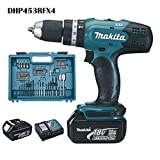Makita DHP453RFX4 Perceuse visseuse à percussion DHP453Z + 2 batteries 18V 3Ah Li-ion + 74 accessoires + coffret de transport