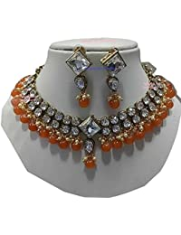 Apsara Art Jewellery New Arrival Kundan Style Look Traditional Gold Plated Orange & Off White Pearl And White...