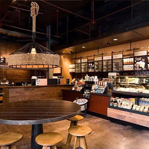 KHSKX American Village industrielle Kronleuchter, Retro-Eisen zu behandeln, Kronleuchter, kreative Persönlichkeit Restaurant Cafe Kronleuchter, Einkopf Kronleuchter,Hanf + 40 CM (Behandeln Leinwand)
