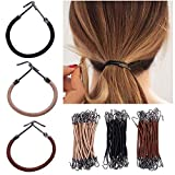 Juanya 15 pcs élastique Bandeaux Crochet Queue de cheval support à clip tresses en caoutchouc épais de cheveux bouclés Cheveux rebelles Styling outils Accessoires Cheveux Beige