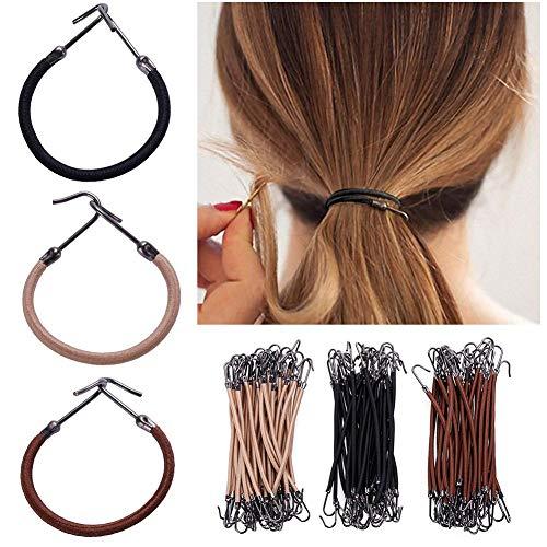 Rungao 15Stück Elastische Haarbänder Haargummis Frauen Mädchen mit Haken Pferdeschwanz Clip...