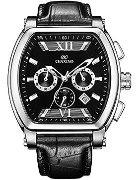 CENXINO Watch Herrenuhr - Tonneau Chronograph Day-Date mit komfortables echtes Lederarmband