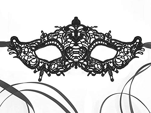 Venetian Queen Black Lace Mask for Masquerade Prom Halloween Carnival Mask Ball (Halloween Mask Lace Black)