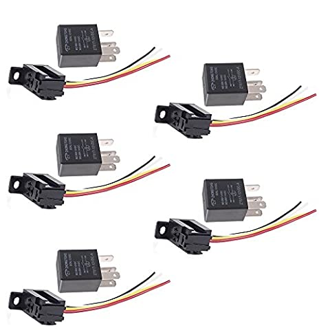 Mintice™ 5 X 30A 12V 4Pin Car Vehicle Auto Relay Kit For Electric Fan Fuel Pump Heavy Duty SPST Socket Plug Wire