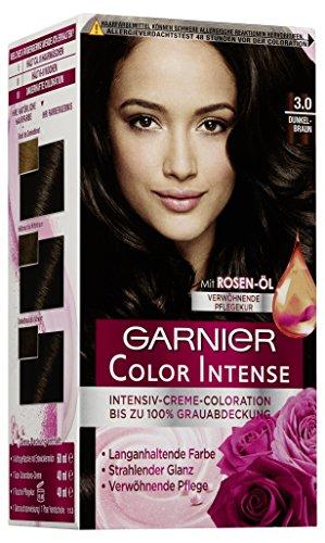 Garnier Haarfarbe (Garnier Color Intense, Intensive Creme Coloration Bis Zum 100% Grauabdeckung mit Rosen Öl, 3er Pack)
