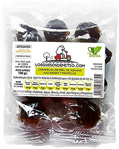 Caramelos artesanales de propoleo, miel de azahar y ajo negro elaborados sin azucar anadido (originales y buenos para la garganta, 3 bolsas de 100g, con stevia), de Losquesosdemitio
