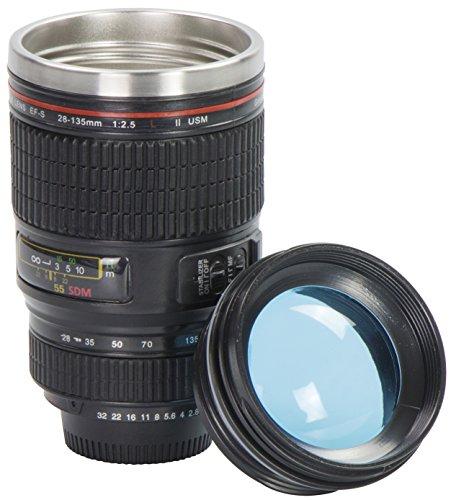 """Tazza da caffè coperchio trasparente - Nero 0,3l Design """"Macchina Fotografica"""" - Thermos gadget da viaggio - Grinscard"""