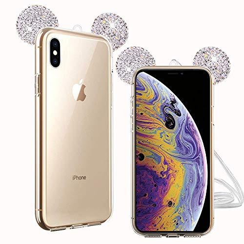TVVT Kompatibel mit iPhone X/iPhone XS Hülle, 3D Süß Maus Ohren Bling Diamant Schutzhülle Ultradünn Transparent Weich TPU Silikon Transparent Handyhülle Kratzschutz - Silber
