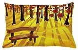ABAKUHAUS Foresta Copricuscino, Cartoon Albero E Panchina, con Cerniera Nascosta, Lavabile, 65 x 40 cm, Giallo Terra di Siena Bruciata Brown