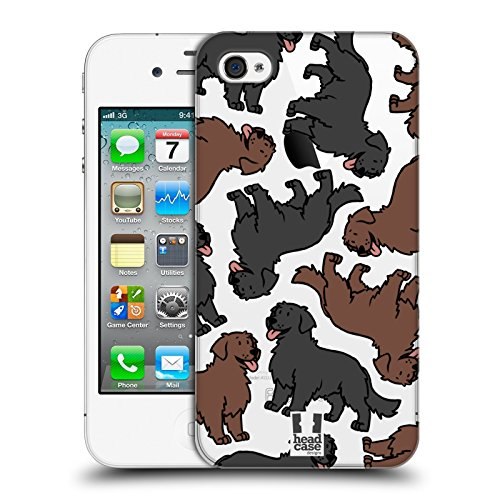 Head Case Designs Flat Coated Retriever Hunderassen Muster 11 Ruckseite Hülle für Apple iPhone 4 / iPhone 4S (Der Head Flat T-shirt,)