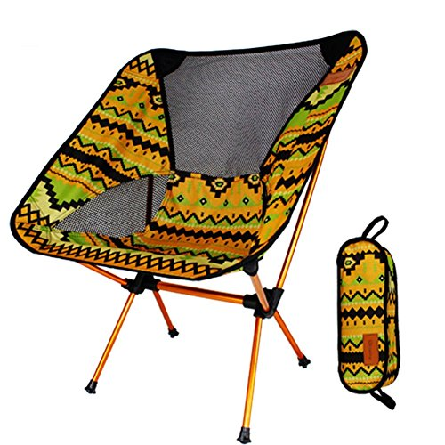 Gaogas Portable Camping Chair - Compact Ultralight Klapp Backpacking Stühle In Einer Tragetasche, Heavy Duty 300 Lb Kapazität, Für Wanderer, Camp, Beach, Angeln, Outdoor,Yellow (Kapazität Compact)