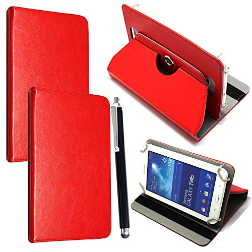 7'' Universal Tablet Hülle - Mobile Stuff Ultra Slim PU Leder Flip Cover Schutzhülle für tablet PC Painted Case Lederhülle Ledertasche Etui Hülle Tasche Schale mit Ständer Function + Stylus (Universal Hülle für 7 Zoll, Plain Red Book) Lenovo Tab 2 A7-10 7 Zoll Tablet Pc, Huawei Mediapad X2, Odys Rapid 7 LTE 7 Zoll Tablet-PC, Asus Nexus 7, Alldaymall A88X 7 Zoll Tablet PC, Dragon Touch Y88X Plus 7 Zoll Tablet PC, iRULU eXpro 1 Tablet PC (X1), XIDO X70 7 Zoll Tablet-Pc