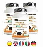 Turmeric Curcuma 1000mg Curcumina + Piperina + Zenzero - Bruciagrassi | Capsule a dosaggio elevato | estratto secco di curcuma titolato al 95% e di Pepe nero titolato al 95% | Curcumina - elevata biodisponibilità | 180 compresse