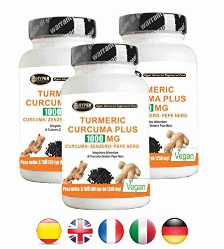 Turmeric Curcuma Curcumin 1000mg + Ingwer + Piperin - Fat Burner | Kapsel hohe Dosis | Trocken Curcumaextrakt bis 95% titriert und schwarzer Pfeffer auf 95% titriert | Curcumin - hohe Bioverfügbarkeit | 180 Tabletten