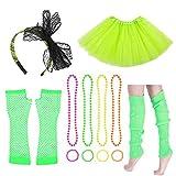 Donsinn 80s Fancy Dress, 5 piezas de falda tutú, diadema de encaje, collares de cuentas y pulseras, calentadores de piernas, guantes largos de rejilla, accesorios para niñas, mujeres, señoras, fiesta de 80 años