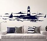 Wandora Wandtattoo Skyline Küstenlandschaft Leuchtturm I azurblau (BxH) 120 x 42 cm I Wohnzimmer Schlafzimmer Sticker Aufkleber Wandsticker Wandaufkleber G078