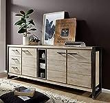 Main Möbel Sideboard massiv Holz Metall Tundra 200x80 Akazie Weiß