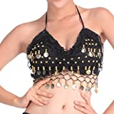 #2: Folded Lace Coins Chiffon Belly Dance Bra Top Costume Black