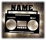 Ghettoblaster Boombox Radio Kassetten Retro Vintage XL DJ Led Deko Holz Geschenk Licht Individualisiert