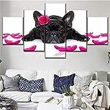 Mddrr Leinwand Gedruckt Modulare Bild Dekor Rahmen Wandkunst 5 Panel Tier Französische Bulldogge Und Blütenblatt Poster Moderne Home Decor Artwork Wohnzimmer Dekoration