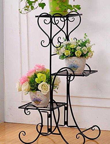 Iron flower flower flower shelf Cadre en Fleurs de Fer Pots de Fleurs Simples Cadre Salon intérieur et extérieur étagères à Fleurs polyvalentes (Couleur : Noir, Taille : 49 * 25 * 80.5cm)