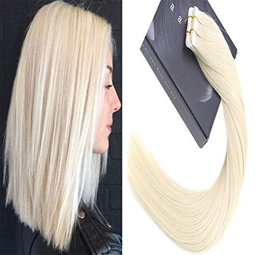 Laavoo hair natural extension glue in weft dritto colore bionda platino #60 seamless real hair extension adesive 20pezzo lisci veri umani great lengths 24 pollice