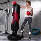LONEEDY Gonflable autoportant Punching-Ball, Sac Lourd de Formation, Adultes Adolescents Fitness Sport Stress Relief Boxe Cible (Noir)