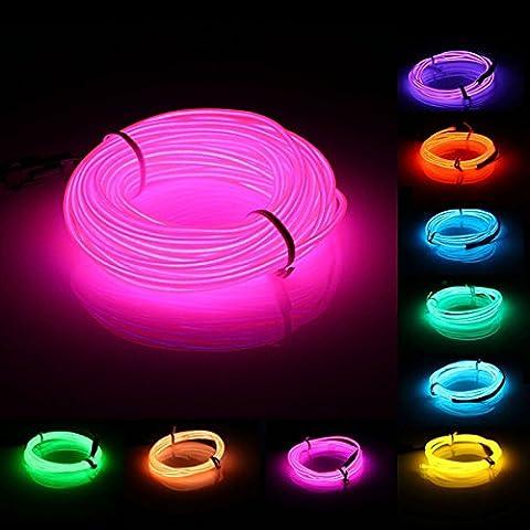 NEW 10M EL LED flessibile Wire Neon Glow Striscia Corda Auto Luce Natale Decor DC 12V