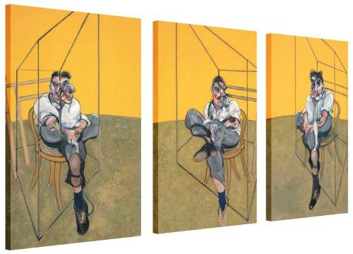 """Famosa pittura ristampa Francis Bacon tre studi di Lucian Freud Tela stampa foto artistica da parete Home Decoration Pictures 3Pannelli, puntine Tela Legno, 2- 3 X 20"""" X 10"""" (3 X 50CM X 25CM)"""