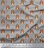 Soimoi Basset Hound Dog Print Baumwolle Popeline Stoff