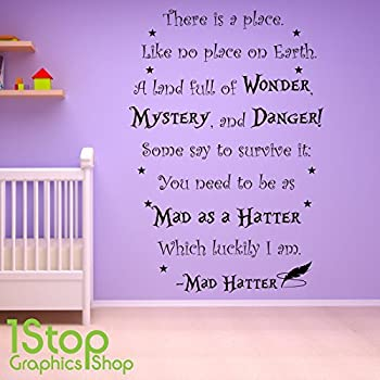 1Stop Graphics Shop   ALICE IN WONDERLAND MAD HATTER WALL STICKER   KIDS  NURSERY WALL ART DECAL X364   Colour: Black   Size: Large