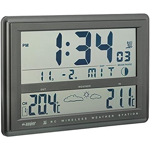 de.power CL-RC002 - Estació meteorológica (formato grande, con reloj y sensor externo)