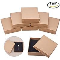 BENECREAT 8 Pack Medinum Size Kraft Rectangle Cajas de carton para joyeria, 5 por 4.17 por 1.26 pulgadas, marron