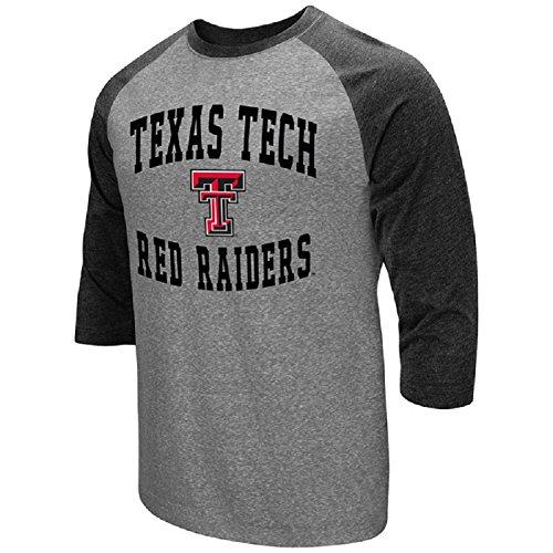 Colosseum Herren ncaa-raglan-3/4Sleeve-Heathered-Baseball T-Shirt, Herren, Texas Tech Red Raiders, Medium