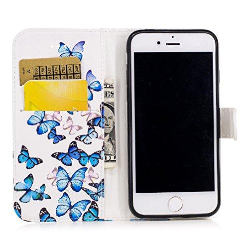 Pheant® Apple iPhone 7 (4.7 pouces) Coque Étui à Rabat Pochette en Cuir PU Cover Gel Housse de Protection avec Fonction de Support et Fermeture Magnétique Motif de Marbre Rose Couleur-03