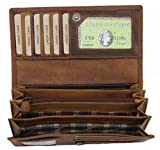 Damen Leder Geldbörse große Portemonnaie Portmonee Hill Burry Herren Kredit-Kartenetui XL Geldbeutel Organizer Reisebrieftasche aus echt-leder braun 3608
