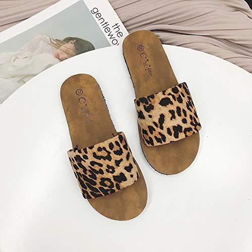 Zapatillas punta abierta estampado leopardo Ropa mujer