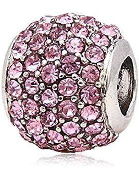 Andante-Stones Silber Pavé Bead mit funkelnden Zirkoniasteinen (Rosa) Element Kugel für European Beads + Organzasäckchen
