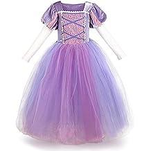 5ee6c4e2b367 Costumi Bambina Principessa Sofia Rapunzel Vestito Carnevale Lunga Manica  Festa Nuziale Compleanno Cerimonia Abito Ragazze Comunione