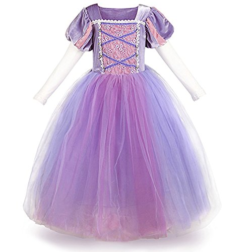 IWEMEK Mädchen Cosplay Kleid Rapunzel Prinzessin Kinder Grimms Karneval Tangled Märchen Partykleid Halloween Festival Geburtstag Fotoshooting Magie Faschingskostüm Festkleid Fancy Dress Up 6-7 Jahre