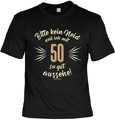T-Shirt zum Geburtstag - Bitte kein Neid weil ich mit 50 so gut aussehe! - 50. Geburtstag - Im SET mit gratis Mini Shirt - Geschenk - schwarz Schwarz